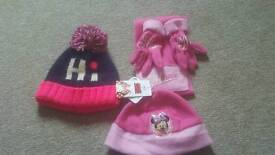 Childrens hats scarfs and gloves