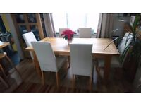 Solid oak table & leather chairs