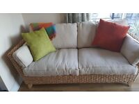 Cream 3 seater sofa, chair and foot stool