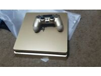 Gold PS4 Slim (Playstation 4) - As New/2 Controllers - With Crash Bandicoot & Warranty