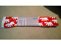 IKEA fabric, red with white hippos BRAND NEW