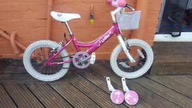 DAWES LOTTIE 16 INCH KIDS BIKE WITH STABILIZERS WAS £120 NEW!