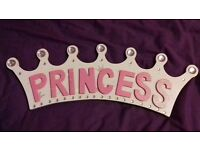 Princess wooden bedroom door plaque/sign