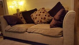 Sofa & armchair, straw coloured, from Nash Interiors