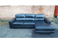 Fantastic BRAND NEW black leather corner sofa ,good quality ,can deliver
