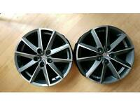 """2 Unused 17"""" 5x100 Genuine SEAT wheels"""