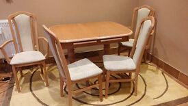 Set of wooden table and 4 wooden chairs