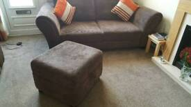 Selling for a friend...Brown Sofa & storage stool excellent condition £300. Ono uplift only