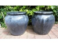 2 LARGE BLUE GLAZED GARDEN POTS - USED BUT IN EXCELLENT CONDITION
