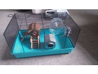 Wire hamster cage with accessories, suitable for dwarf hamsters