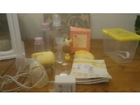 medela mini electric breast pump with spares and extras including boots milk storage bags .