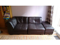 Dark Brown Leather DFS Kool Modular Sofa