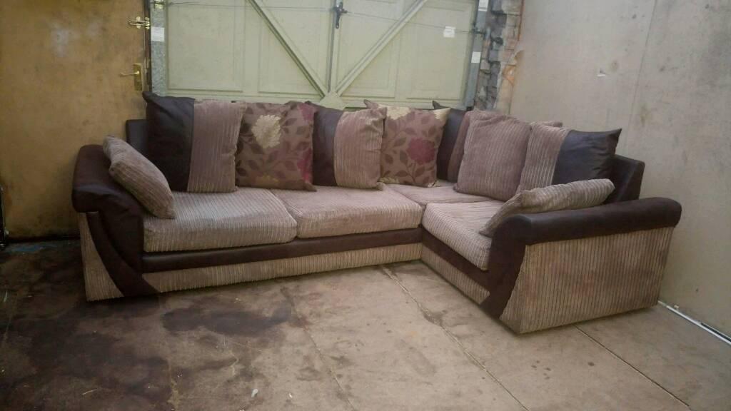 Brown Amp Cream Jumbo Cord Corner Sofa Good Condition Can
