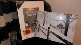 BOXED & BRAND NEW ILLUMINATED FIBRE OPTIC WALL ART PICTURE 40X30 CM