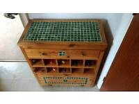 Pine wine rack with drawer and cupboard