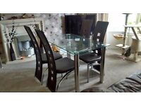 Dining table glass chrome 4 chairs brown