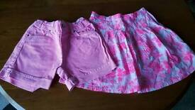 Girls pink shorts and skirt aged 10/12 years