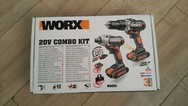 Worx combo drill kit. 20v combi drill and impact driver. 2x batteries and charger. BNIB