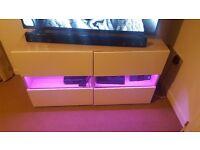 Light oak tv stand with LED lighting