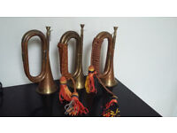3 vintage Bugles horns in solid brass and copper