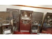 5 x stainless steel sinks