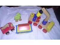 Wooden Toys Animals Noah's ark Car Fire Engine Crane with blocks shape sorter