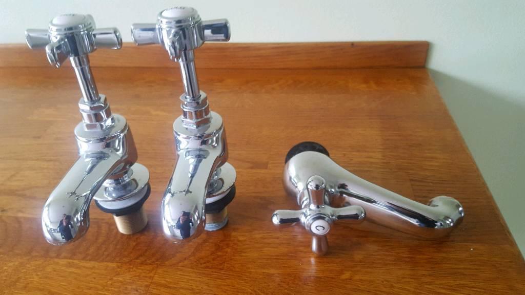 Bath, sink taps chrome high quality as new