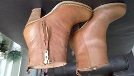 NEXT LEATHER TANNED SIZE 4 ANKLE BOOTS