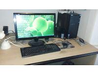 Large beech-effect computer/study desk