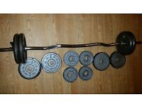 Ez curl bar and metal weights total weight 43kg
