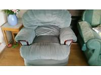 Two two seat sofas and armchair