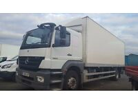 2010-60 plate mercedes axor 1824 sleeper cab boxvan tailift low klms buy or contract plus vat