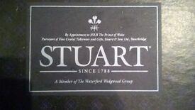 Stuart Crystal: new, unused cut glass ship's decanter in presentation box