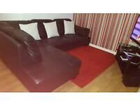 Fulham Black leather Corner sofa