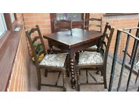 Vintage extendible dining table with 4 chairs