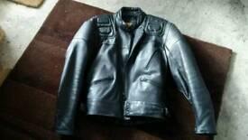 Leather biker jacket.