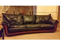 3 Seater and 2 Seater, Black Real Italian Leather Sofas