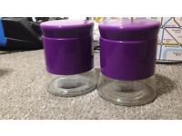 2 purple jars