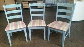 3 Solid Wood Shabby Chick Chairs