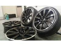 "VW golf R32 18"" 5x112 alloy wheels + 2 tyres Audi Seat Skoda VAG"