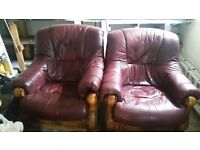 Leather chairs x 2