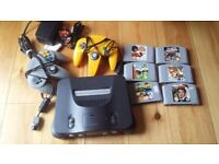 N64 console, 2 controllers & 6 games