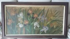 Oil Painting of Wild Iris Flowers in original mahogany frame and mount