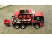 Kids red garbage truck toy