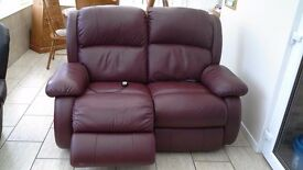 2 two seater leather recliners