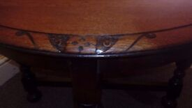 Circular wood table with carving designs round