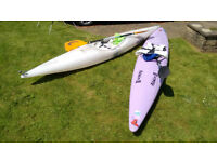 Two sit-in Kayaks suitable for flat water (canals / flat rivers) with accessories