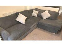 DFS left-hand facing corner sofa, grey. Almost new.