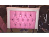 Girls pink & white diamanté bed frame
