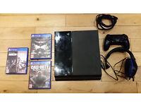 PS4, 3 games, headset - black ops 3, arkham knight, rainbow six siege
